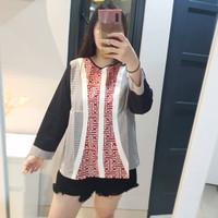 Etnik Blouse Lengan Panjang Delightline Batik Wanita - Hitam