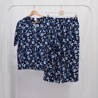Piyama Wanita Celana Kulot Biru Navy - Baju Tidur - all size