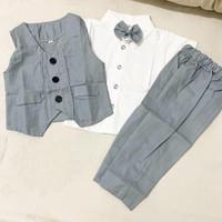 baby tuxedo set tuxedo bayi baju kondangan single vest - Abu-abu, size 1