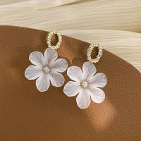 anting bunga gantung gold white korea kekinian