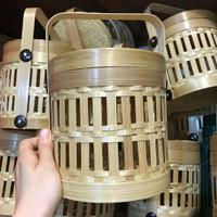 Hampers Bambu/Keranjang Anyaman/Anyaman rantang kecil 2 susun toples