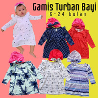 Baju muslim anak perempuan Gamis kaos bayi murah free turban