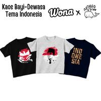 Kaos Tema Indonesia Naked&Free Untuk Dewasa-Big Bahan KatunCombed 30s