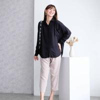 Kemeja Oversized Rayon Wanita Polos/Basic Shirt Mirae Top Black White