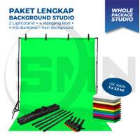 Paket Background stand 1 bar with backdrop foto studio lite