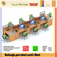 Meja Kerja Staff Adm Kantor Partisi Sekat Cubicle Workstation 8 Orang