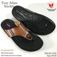 Tony Adam Sandal Pria Kulit Asli Premium Pm-501/ Sandal Casual Pria - Tan, 39