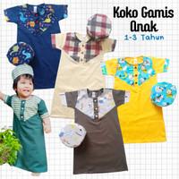 Baju Muslim Anak Bayi Laki Koko Gamis Katun Gibran 1-3 tahun