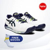 Asics Gel Resolution 8 Wide Tennis Shoes / Sepatu Tenis White Peacoat - 45
