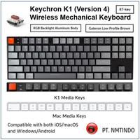 Keychron K1 v4 87-Key Brown Switch RGB Aluminum Body + Traveling Pouch