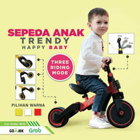 Sepeda Anak Roda Tiga Balance Bike 3 IN 1 Happy Baby TERMURAH - Merah