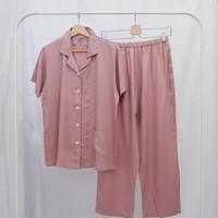 Piyama Wanita Celana Panjang Dusty Pink Tencel - Baju Tidur Polos