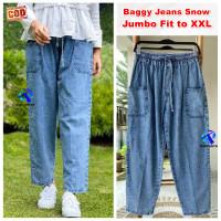 Celana Baggy Jeans Wanita Jumbo Saku Depan