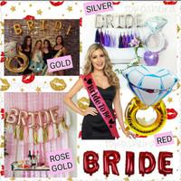 Paket Balon Huruf Bride Selempang Bride To Be Balon Cincin Jumbo Set