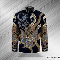 Baju Batik Tulis Asli Kemeja Pria Katun Prada 01 Hitam Pekalongan