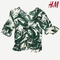 H&M Atasan Katun Blouson Hijau Tropikal Wanita (Preloved branded)