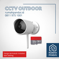 CCTV Outdoor Waterproof IP65 + SD CARD 64 GB + Instalasi