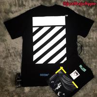 Baju Kaos Tshirt Off White Yellow Strip Premium Hype Mirror Quality