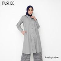Baju atasan tunik wanita muslim Akira tunic polos simple real pict - LIGHT GREY, XS