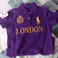 Kaos Polo Original Shirt Ungu Bordir Baju Atasan Kerah Wanita ukuran L