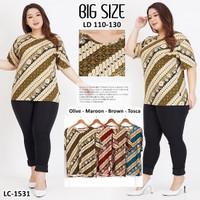 Baju Wanita Baju Atasan Batik / Blouse Batik JUMBO - Tosca