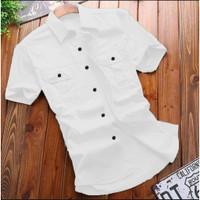 Kemeja Kantor Pria Lengan Pendek / Baju Kemeja Formal Slimfit