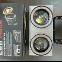 fog lamp led mobil angle eyes ring merah 89mm - Putih