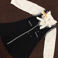 Dres anak perempuan import/Baju anak Korea 5-8 th/style Korean kids - Putih, 4-5 tahun