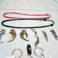 Kalung Tali Pria/Wanita Plus Bandul Cincin Titanium Anti Karat
