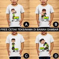 Ben 10 Baju Kaos Kartun Anak dan Balita Custom Teks/Nama