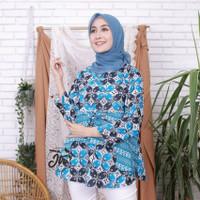 baju atasan terbaru wanita muslim murah terlaris blouse batik - Biru muda shoft, M