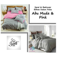 Vige Bedcover Set Katun Polos Abu Muda - Pink Size Single | Bad Cover