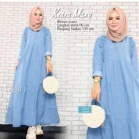 Baju Gamis Wanita Modern KAERA MAXY Jeans Terbaru 2021 - BlueDenim, all size