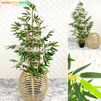 Pohon Daun Bambu Hijau Kuning Latex Pot Dasar Cover Rotan Kupas Lamp - Kuning