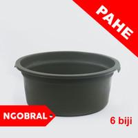 PAKET 6- Baskom Plastik Besar HIJAU ARMY D 45cm / Ember Bak Plastik