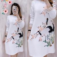baju dress santai wanita printing FLOWER swan. allsize fit to XL - RIB Coksu