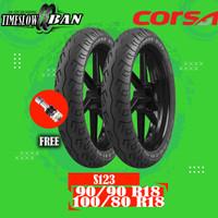 Sepasang Ban Motor Moped (Motor Bebek) CORSA S123 90/90 - 100/80 R18