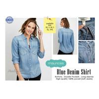 MAURICES Blue Denim Shirt, Kemeja DENIM Wanita Adem