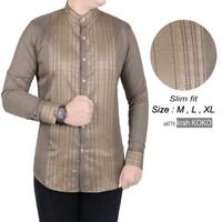 Baju Kemeja Koko Lengan Panjang Pria Slimfit Terbaru Muslim k8775