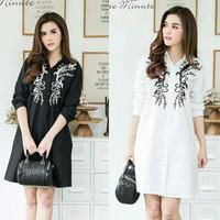 dress/tunik/atasan wanita flower bahan katub rayon warna hitam putih