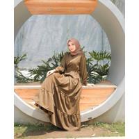 Simple Fashion Baju Gamis Wanita Muslim Modern ARMY DRESS Terbaru 2021