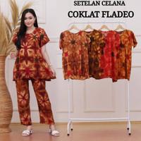 Setelan Cp Wanita Rayon Santung Celana Panjang Kencana Batik Terbaru