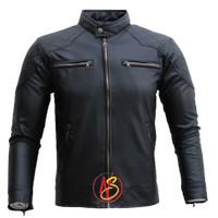 Jaket kulit pria bahan kulit sintetis tebal warna hitam dan coklat - Cokelat, M
