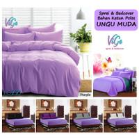 Vige Bedcover Set Polos Ungu Muda Size Single | Bad Cover Set Katun