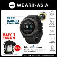 Garmin Fenix 6X Smartwatch Carbon Gray DLC Black Band Garansi TAM