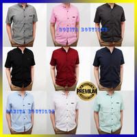 Baju Kemeja Pria Lengan Pendek Premium Motif Polos Formal Kerja Kantor - Hitam, M