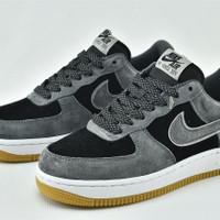 Sepatu Nike Air force 1 one Low Black Dark Grey Reflective Bnib - DARK GREY, 39