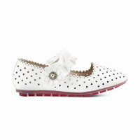 Flat Shoes Anak Perempuan Laser Cut 818-12 - Fransisca Renaldy - Putih, 28