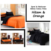 Vige Bedcover Set Katun Polos Hitam & Orange Size Double | Bad Cover