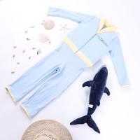 [Free Kacamata] Baju Renang Anak Pelampung Panjang Floswim Diving - M, Blue